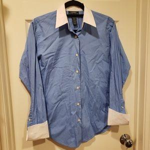 Lauren Ralph Lauren Womens Collared Shirt blu/wht